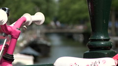 Bloemgracht and Pink Bike 2 Stock Footage