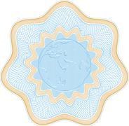 Embossed globe rosetta Stock Illustration