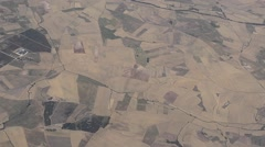Aerial view of agricultural fields in inland Spain - stock footage
