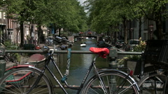 Bike and Bloemgracht Bridge Stock Footage
