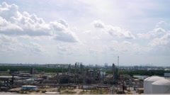 Driving view of an industial oil refinery complex 4k Stock Footage