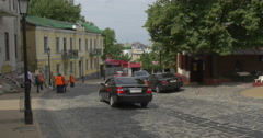 Historic Street of Kiev Called as Andriyivskyy Descent With Its Hustle and Stock Footage