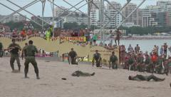 Military show during water carnival in Gelendzhik city July 25, 2015 Stock Footage