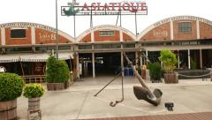 Asiatique The Riverfront facade and main passage, empty at daytime, slide shot Stock Footage