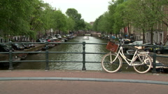 Amsterdam Bridge and White Bike 1 Stock Footage