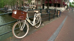 Amsterdam Bridge and White Bike 2 Stock Footage