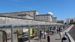 Berlin wall, german history, outdoor museum Stock Footage