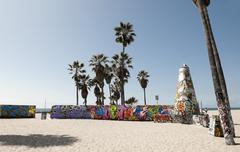 Art walls on Venice beach, Los Angeles, California, USA Stock Photos
