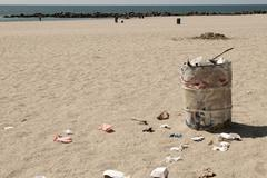 Dustbin on Venice beach, Los Angeles, California, USA - stock photo