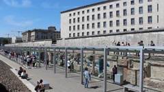 People at berlin wall, second world war museum  Stock Footage