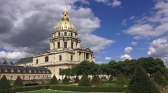 The Eglise du Dome (in 4K) containing Napoleon's Tomb, Paris, France. - stock footage