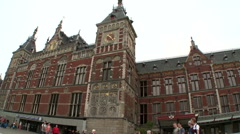 Amsterdam Centraal Station Front View Stock Footage