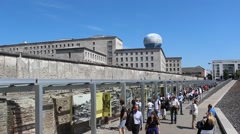 tourists at berlin wall museum - stock footage