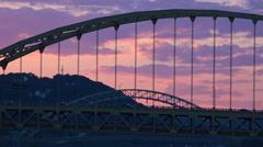 Fort Pitt Bridge Sunset Stock Footage