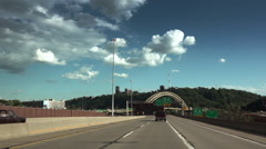 Driving on Route 65 into Downtown Pittsburgh Stock Footage