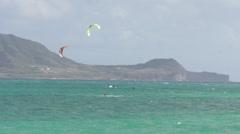 Kite Surfers at Kailua beach Stock Footage