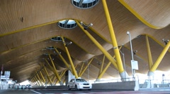 Madrid Airport, Terminal 4, taxi and bus transfer area. Stock Footage