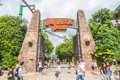 SINGAPORE - JULY 20: Jurassic Park theme in Universal Studios Singapore at Si - stock photo