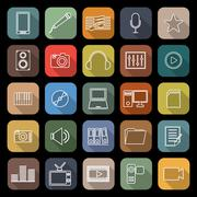 Media line flat icons with long shadow Stock Illustration