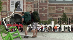 IAmsterdam Sign and Green Bike Long Shot Stock Footage