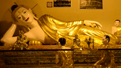 Statue of Reclining Buddha at Shwedagon Pagoda Myanmar - stock footage