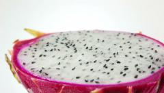 Dolly shot of dragon fruit on white background Stock Footage