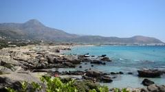 Falasarna Beach in Crete Island, Greece Stock Footage