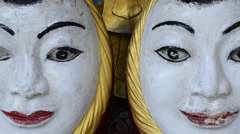 Zoom Out Faces - Shwedagon Pagoda Myanmar - stock footage