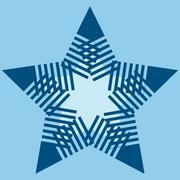 Turquoise star snowflake sign symbol design element - stock illustration