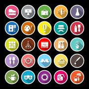 Art activity flat icons with long shadow Stock Illustration