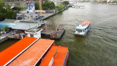 Cross river ferry approaching and make fast to pier Stock Footage