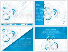 Set of gears and circuit board with arrows on abstract background Stock Illustration