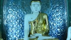 Statue of Buddha at Shwedagon Pagoda Myanmar Stock Footage