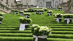 Festival of floral decorations in Girona Stock Footage