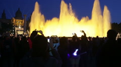 Evening view at colorful vocal fountain Montjuic - stock footage