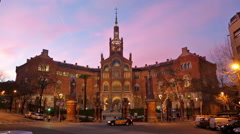 Main facade of Hospital de Sant Pau in evening. Stock Footage