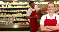 Smiling worker in front of her colleague - stock footage