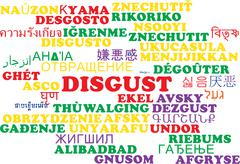 Disgust multilanguage wordcloud background concept Stock Illustration