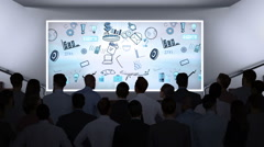Business people watching brainstorm on screen Stock Footage
