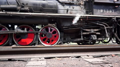 Stock Video Footage of steam train wheel moving and stopping