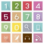 Illustration Set of Telecommunication and Numeric Icons - stock illustration