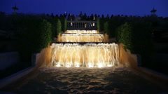 Evening view at colorful vocal Montjuic fountain in Barcelona. - stock footage