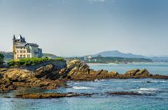 Villa Belsa and the coast, Biarritz. - stock photo