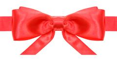 Stock Photo of symmetric red bow with horizontal ends on ribbon
