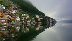 Hallstatt old town, Austria. UNESCO World heritage Stock Footage