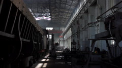Steam locomotive repairing factory Stock Footage