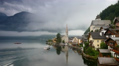Misty morning in Hallstatt - beauty of Alps. Austria - stock footage