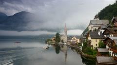 Misty morning in Hallstatt - beauty of Alps. Austria Stock Footage