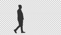 Silhouette of a young man walking, Full HD footage with alpha channel Stock Footage