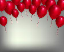 Festive background with red balloons Stock Illustration